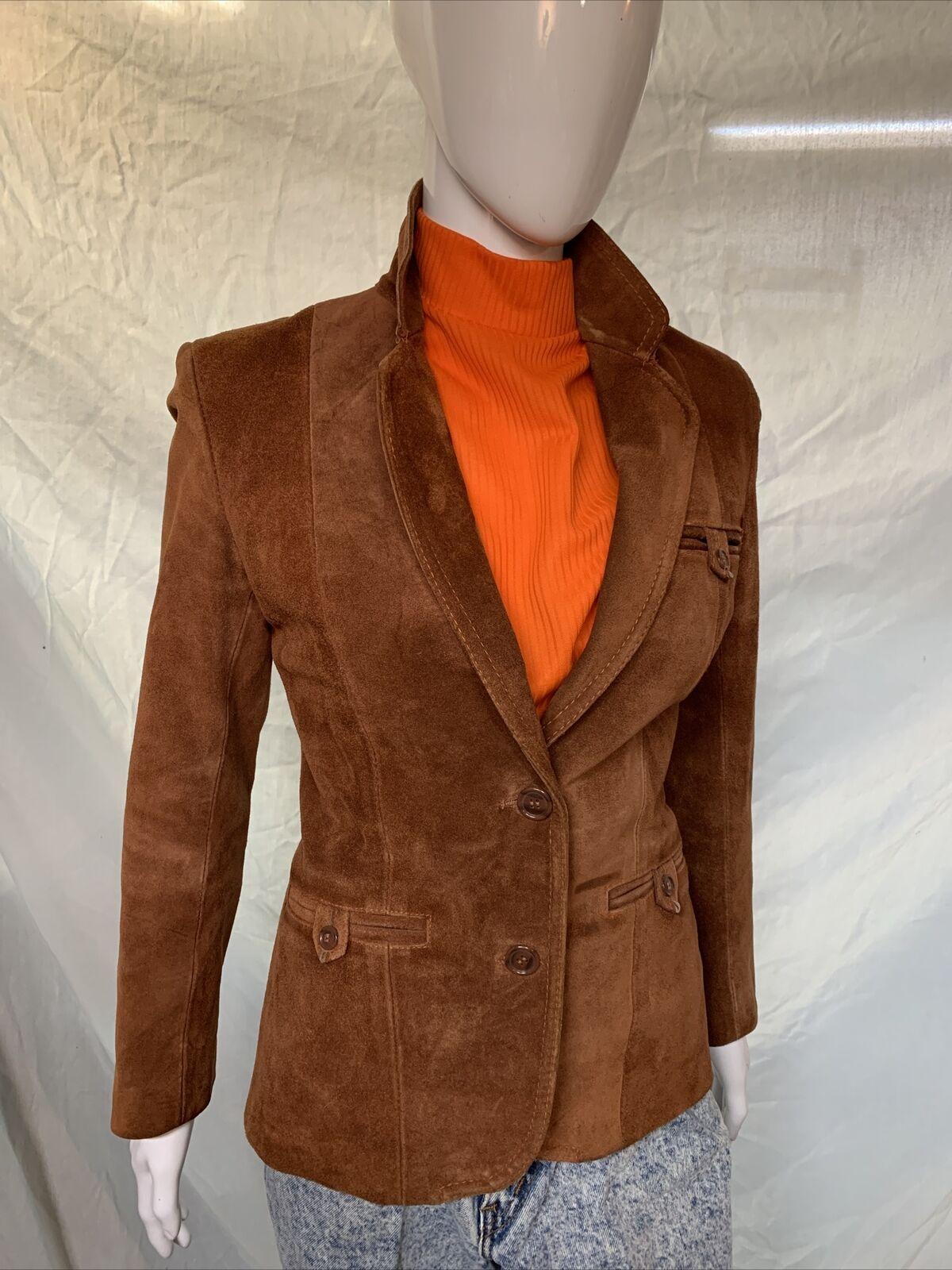 Vintage 1970s Casual Corner Leather Suede Brown J… - image 2
