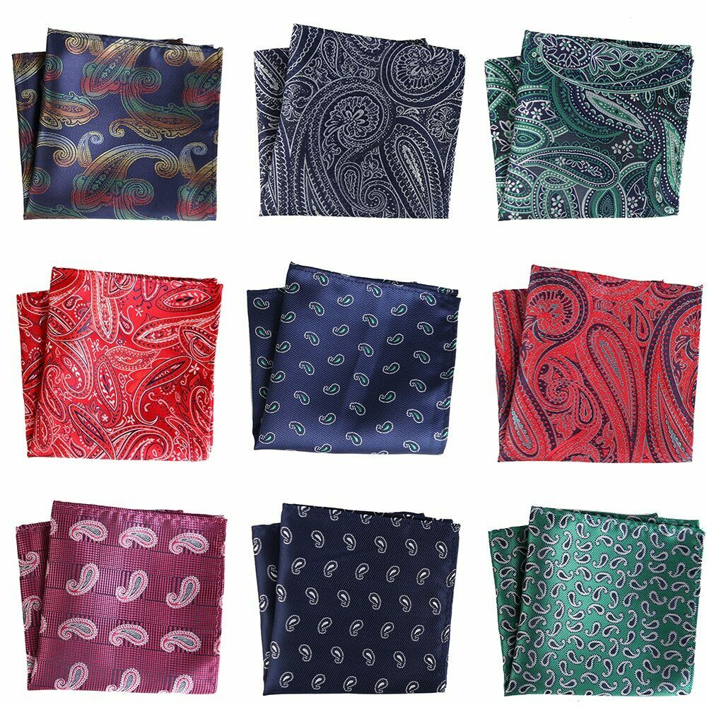 25CM Men's Pocket Square Vintage Floral Paisley Handkerchief Pocket Square Hanky