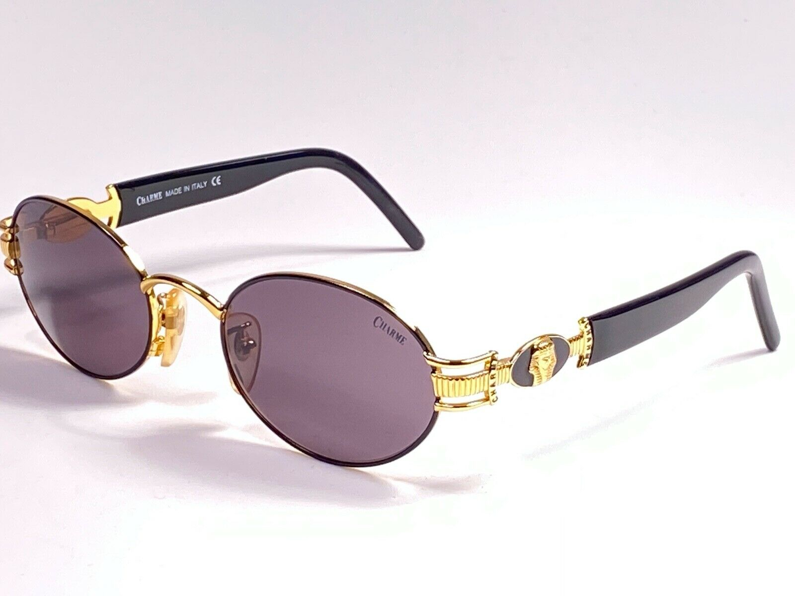 NEW VINTAGE CHARME 7540 OVAL BLACK & GOLD SUPER 1990'S MADE IN ITALY SUNGLASSES
