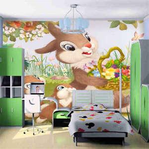 Che-tiene-un-mazzo-di-coniglio-fiori-3D-Tenda-Bloccare-Foto-Stampa-Tendaggio-Dra