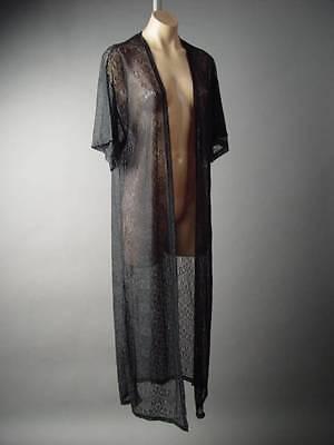 Victorian Black Sheer Lace 20s Boudoir Robe Long Duster 123 mv Jacket XS S M L