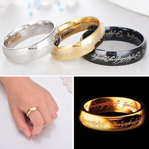 Hobbit-Lord-of-the-Rings-Gold-Silver-Black-Elvish-Rune-Engraving-Finger-Ring