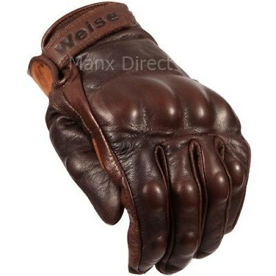 WEISE VICTORY LEATHER SHORT VINTAGE RETRO STYLE MOTORCYCLE GLOVES BROWN