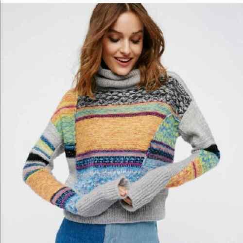 Free People M multi patchwork  turtleneck sweater