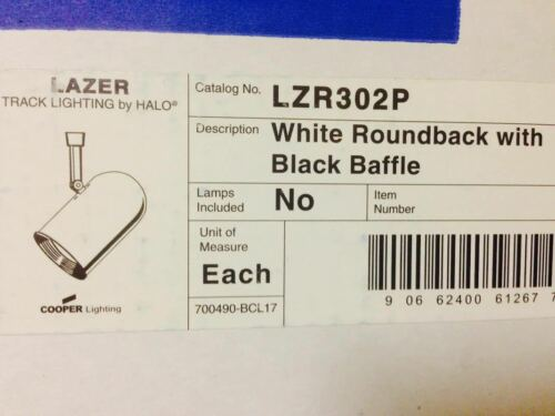 LAZER TRACK LIGHTING LZR302P HALO COOPER WHITE ROUNDBACK W// BLACK BAFFLE NEW