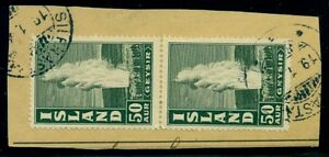 ICELAND BRIDGE CANCEL SILFRASTADIR (B2a) on 50aur Geysir pair on piece