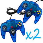 2 New Clear Blue Long Handle Controller Pad Joystick for Nintendo 64 N64 System