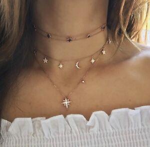 4beb851086bdc Sun Moon Stars Diamond Charm Choker Necklace 14k Rose Pink Gold 0.70 ...