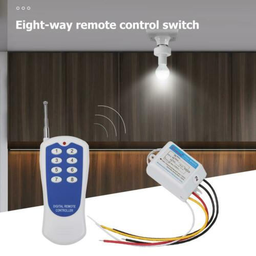 8 Way ON//OFF 220V Light Wireless Remote Control Switch Digital Controller L/&6