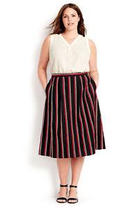 6b64e2a06f8 LANDS  END Plus Size 26W Bright Tomato Stripe Midi Skirt NWT  79