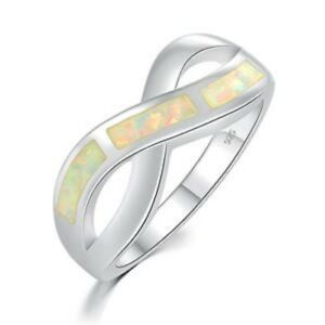 """GORGEOUS WHITE  FIRE OPAL  RING UK Size /""""N/"""" US  7"""