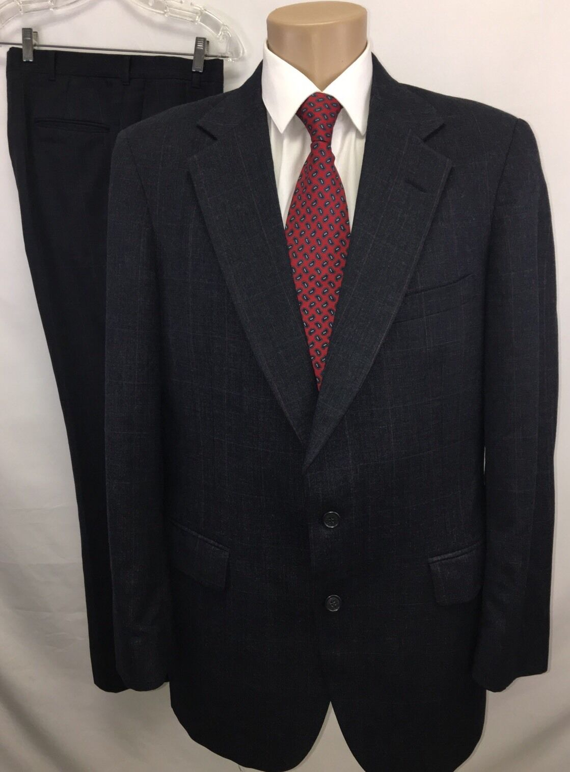 VINTAGE ALLYN ST. GEORGE  Herren 2PC WOOL 2 BTN SUIT CHARCOAL WINDOW PANE SZ 40R