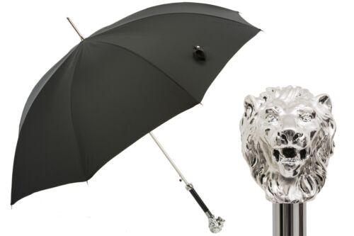 Pasotti Luxury SILVER LION BLACK UMBRELLA handmade 478 50890-5 W37 Italy