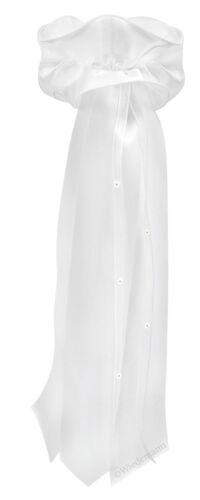 Kerzen Schleifen aus Satin Weiß Kerzenschleife zur Taufkerze Kommunionskerze
