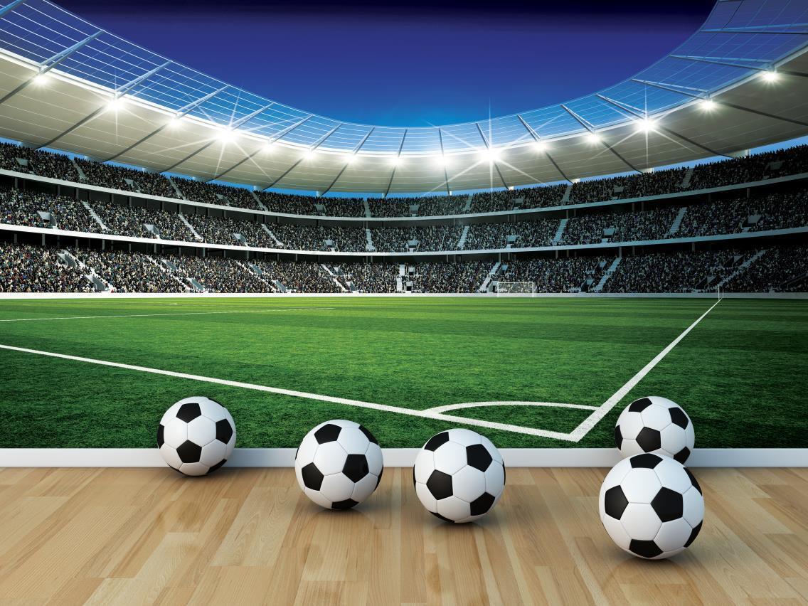 Fußballstadion Jungen Zimmer Papier Tapete 368x254cm Wandbild Schlafzimmer Grün