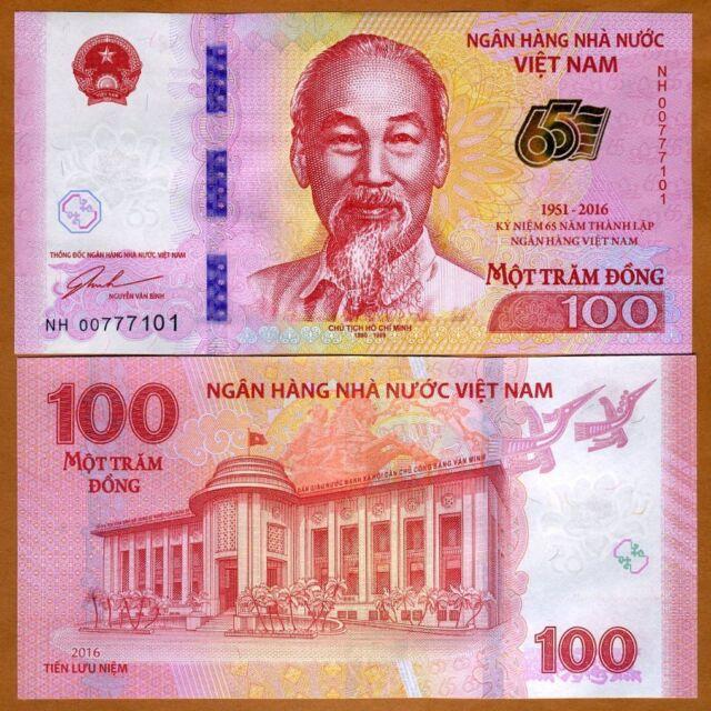 Vietnam 100 Dong 2016 P Unc Commemorative 65th Anniversary