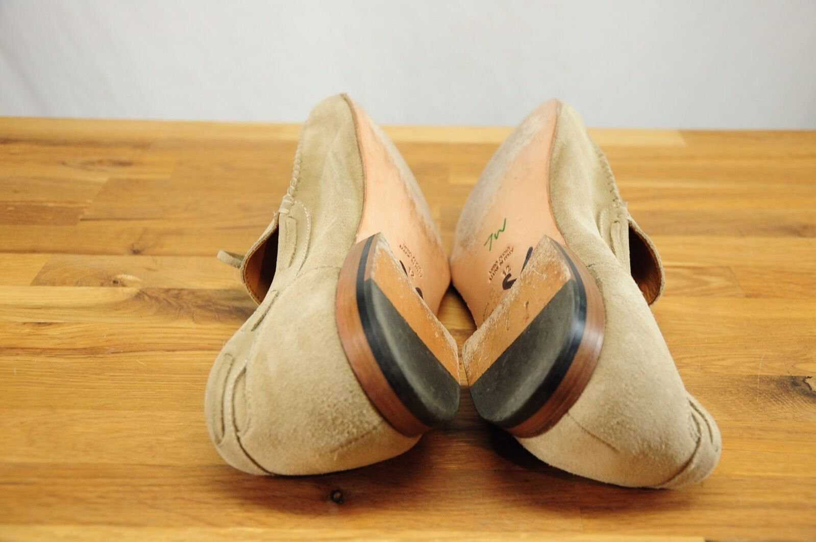 Brooks Brothers Worn Once  Light Tan Suede Suede Suede Unlined Loafer Driving Mocs 12 f0911b