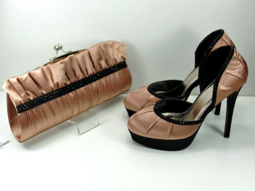 Shoes and Matching Bag Dark Pink Satin Courts Beaded Trim 5/'/' Heel 1.25/'/' Plat