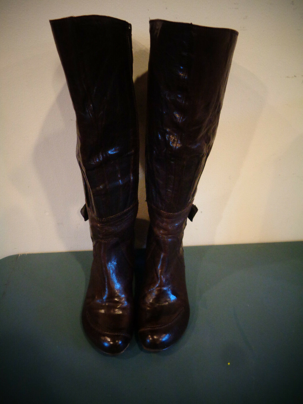 FIDJI TALL BROWN LEATHER ZIPPER BOOTS WOMEN'S SIZE 38.5 MADE IN PORTUGAL