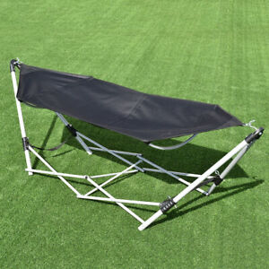 Portable-Folding-Hammock-Beach-Lounge-Camping-Bed-W-Bag-Steel-Frame-Stand-Black