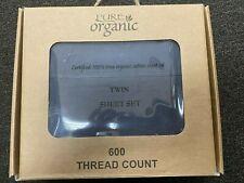 100/% Organic Cotton 3pcs Bed Sheet Set 600 TC Navy Blue Twin Size