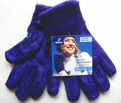 NEU TCM Tchibo Handschuhe Lila Plüschhandschuhe Damen Mädchen Gloves 6,5