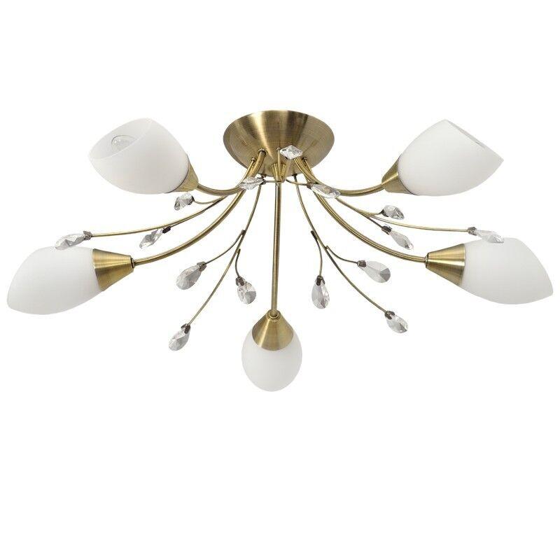 Classic five way chandelier antique brass Weiß glass crystal drops 560W E14