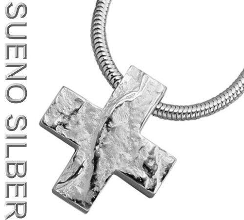 Großer SUENO Anhänger 925 Silber rhod KREUZ teilgehämmert
