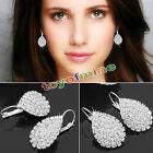 925 Cute Lady Sterling Silver Women Crystal Rhinestone Earrings Elegant Jewelry