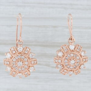 1ctw-Diamond-Drop-Earrings-14k-Rose-Gold-Pierced-Hook-Posts