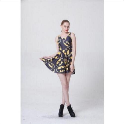 Women pleated Dress Cartoon Batman Printed dress Slim Dress S-4XL Vest dress