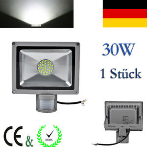 30w 220v kaltwei led smd flutlicht strahler mit bewegungsmelder au en lampe dhl ebay. Black Bedroom Furniture Sets. Home Design Ideas