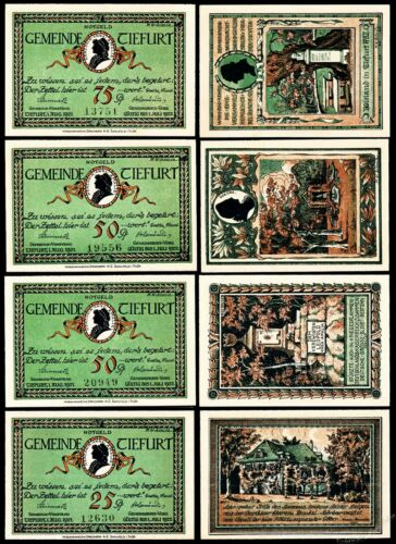 Complete Set Tiefurt Notgeld Four Notes 1921 UNC