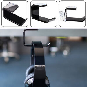 Acrylic-Headphone-Stand-Hanger-Hook-Tape-Under-Desk-Dual-Headset-Mount-Holder-us