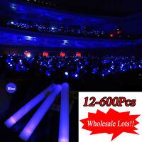 19 Blue Led Light -up Foam Sticks Rally Rave Party Glow Stick Baton Wands Us