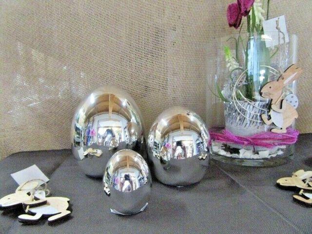 Oster Dekofigur Ei silberfarben hochglänzend, ca. 14 cm hoch
