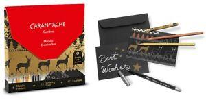 CARAN Dache Cartoline di Natale Scatola creativa metallici (12 Carte & Metallico Art Set)