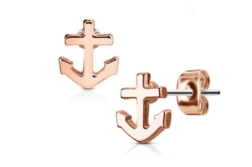 1 pares de pendientes de mujer pendientes de acero inoxidable con anclajes en Rosé