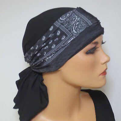 * K & K Design * Bandana M. Nastro Senza Rilegatura Nero Uni + + Chemomütze Alopecia-mostra Il Titolo Originale