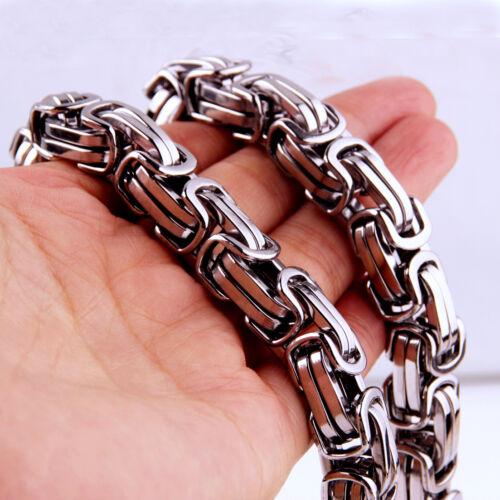 """Top 316 L en acier inoxydable lourd Link Silver Byzantin Chaîne Hommes Collier 8/"""" 40/"""""""