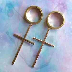Image Is Loading Steel Dangle Ear Plug Cross Goth Earrings