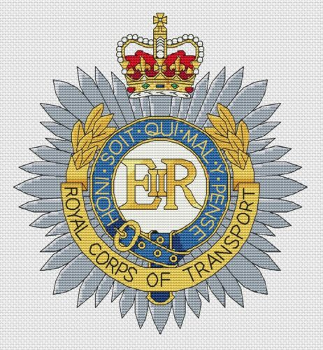 "8x8/"", 20x20cm, kit or chart Royal Corps of Transport Cross Stitch Design"