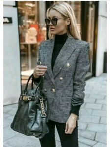 ZARA-SOLD-OUT-TWEED-JACKET-HOUNDSTOOTH-DOUBLE-BREASTED-BLAZER-SIZE-XL