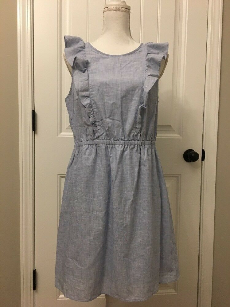 New Madewell Bellflower Ruffle Dress Craft Blau Sz 10 G4956