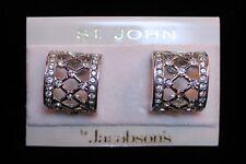 St. John Crystal Rhinestone Hoop Clip On Earrings Jewelry Card Original Hang Tag