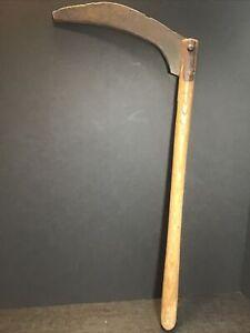 "hand Sickle SCYTHE Corn BLADE farm TOOL Weed Cutter Grim Reaper 28""~Old Rusty"