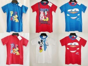Disney-Baby-Cotton-T-Shirts-CARS-PLUTO-MICKY-Red-White-Blue-Size-12-30-months