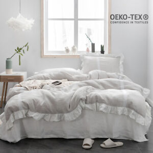 Simple-amp-Opulence-100-Stone-Washed-Linen-Ruffled-Flax-Duvet-Cover-Set