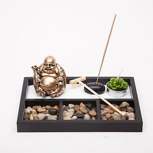 Asian Japanese Feng Shui Sand Zen Garden Buddha Incense & Candle HY197