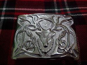 Highland Kilt Boucle de ceinture Celtic Knot Jet Balck finition//Écossais Robe Boucles